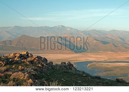 Sunset over drought stricken Lake Isabella as seen from Yankee Canyon Ridge in Central California in the southern Sierra Nevada Mountains