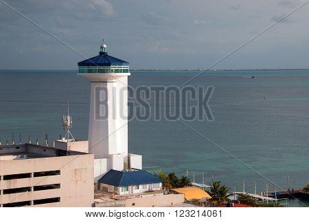 Lighthouse at Puerto Juarez Cancun Mexico MEX