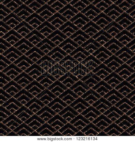 Seamless pattern based on japanese sashiko motif. Golden color. Sashiko with triangles. Diamond motif. Abstract geometric backdrop. For decoration or printing on fabric.