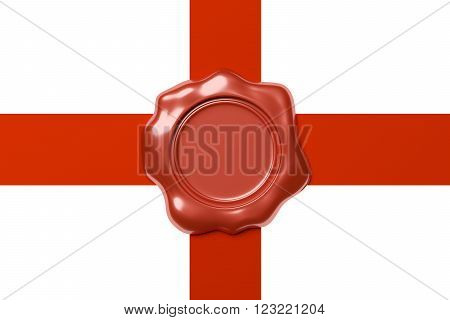 Red sealing wax seal stamp without sign on red ribbon cross isolated on white background, 3d illustration