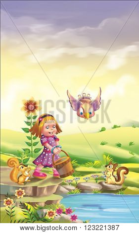 Little girl outdoors with a water bucket with flowers, birds and squirrels.