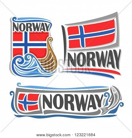 Vector illustration of the logo for Norway, consisting of 3 isolated illustrations: norwegian flag over the boat on the waves, horizontal symbol of Norway and the flag on background of the fish