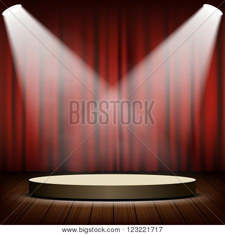 Round podium in the scene. Red curtains and spotlights. Stock vector illustration.