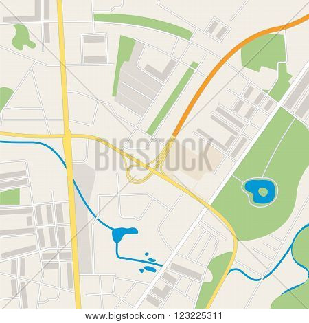 Abstract city map. Street maps Vector illustration.