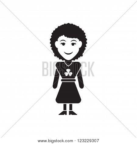 Flat icon in black and white  Irish girl