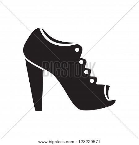 Flat icon in black and  white  stilettos