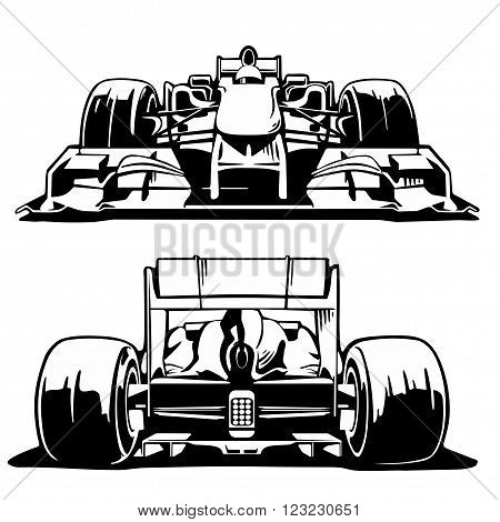 Racing car front and back view formula 1. Vector vintage engraving set illustration handmade. Gray background.