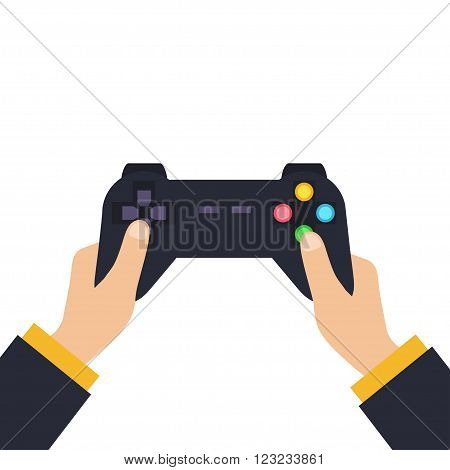 Hands holding wireless gamepad. vector illustration in flat design. Video game concept