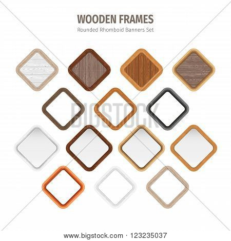 Wooden rounded rhomboid frames collection. Used pattern brushes included in Brushes panel. Used patterns included in Swatches pannel. Clipping paths included.