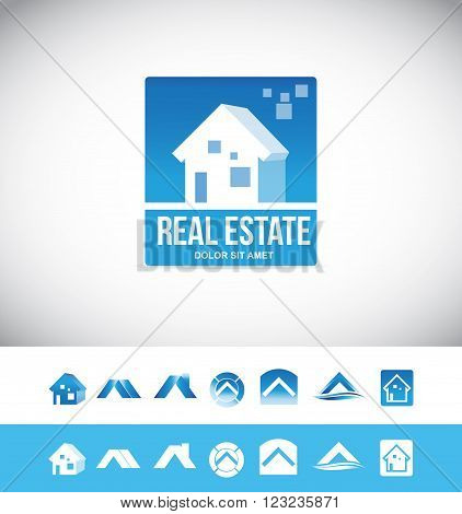Vector company logo icon element template real estate house 3d blue property realtor realty residential home roof