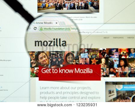 MONTREAL CANADA - MARCH 25 2016 - Mozilla internet page under magnifying glass. Mozilla is a free-software community created in 1998 by members of Netscape