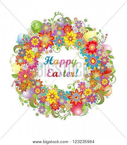 Easter wreath with colorful flowers and saturated eggs