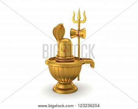 Hindu God Siva Linga with Trident - 3D Rendering