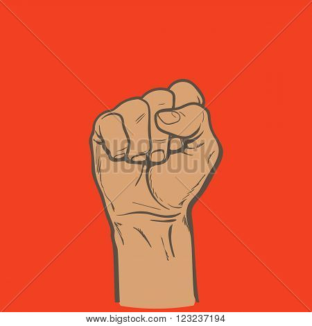 Raised fist. Strong fist on a red background. Mans hand. Male fist. Symbol of power and authority. Symbol of good luck and success. Fist icon. Painted vector fist. Fist sketch