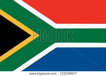 A flag of South African on white background