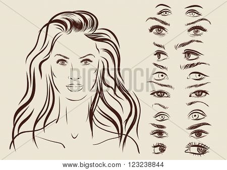 eyes set, girl character woman portrait on a background.
