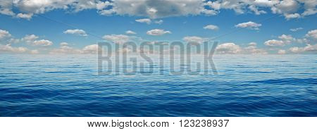Panorama of white clouds on a background of blue sea