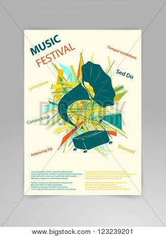 Music background vector template with gramophone and geometric structures. Concept of music festival poster or a flyer featuring gramophone in modern style on black background.