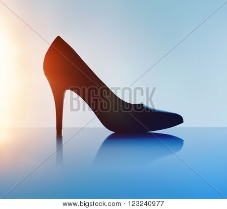 Women's black pump shoe in silhouette and with lens flare.