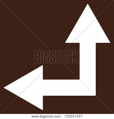Bifurcation Arrow Left Up vector icon. Image style is flat bifurcation arrow left up pictogram symbol drawn with white color on a brown background.