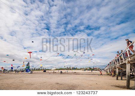 Adelaide Australia - March 26 2016: Adelaide International Kite Festival at Semaphore Beach. 2016 Festival featured international kite flyers from Australia New Zealand India and USA