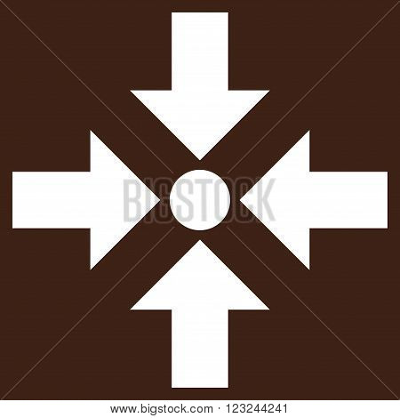 Shrink Arrows vector icon. Image style is flat shrink arrows pictogram symbol drawn with white color on a brown background.