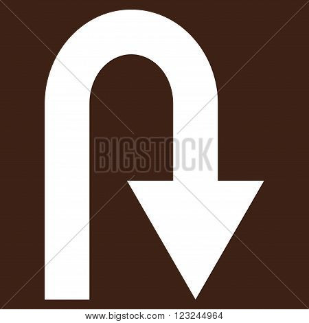 U Turn vector icon. Image style is flat u turn pictogram symbol drawn with white color on a brown background.