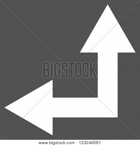 Bifurcation Arrow Left Up vector icon. Image style is flat bifurcation arrow left up pictogram symbol drawn with white color on a gray background.