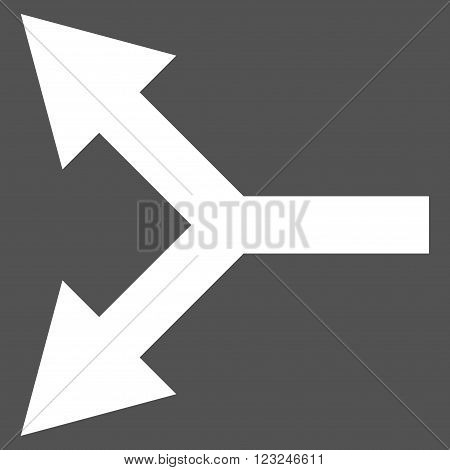 Bifurcation Arrow Left vector icon. Image style is flat bifurcation arrow left pictogram symbol drawn with white color on a gray background.