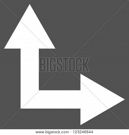 Bifurcation Arrow Right Up vector icon. Image style is flat bifurcation arrow right up pictogram symbol drawn with white color on a gray background.