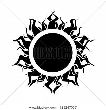 abstract black isolated  sun on the white background. vector.