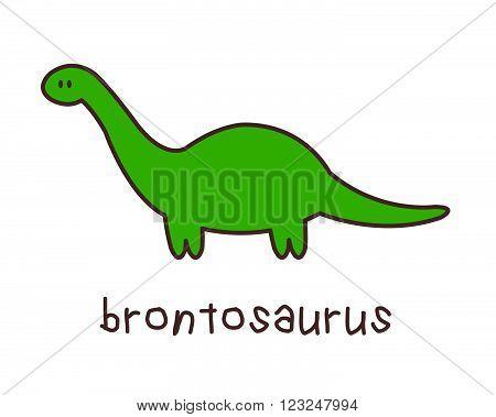Simple Childish Brontosaurus Drawing on White Background