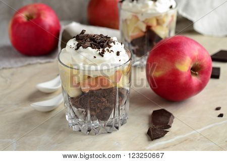 Delicious Apple Trifle in glass, selective focus