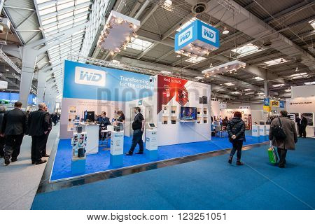 HANNOVER GERMANY - MARCH 15 2016: Booth of Western Digital company at CeBIT information technology trade show in Hannover Germany on March 15 2016.