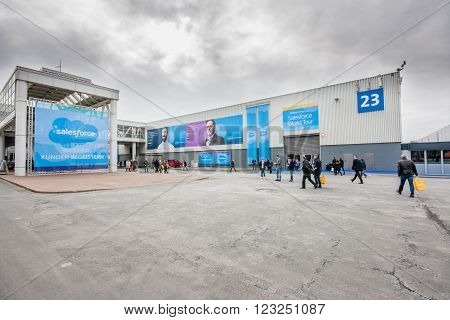 HANNOVER GERMANY - MARCH 15 2016: Hall of Salesforce company at CeBIT information technology trade show in Hannover Germany on March 15 2016.