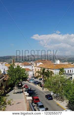 VELEZ MALAGA, SPAIN - JUNE 1, 2008 - Elevated view over the town rooftops towards the mountains Velez Malaga Costa del Sol Malaga Province Andalusia Spain Western Europe, June 1, 2008.