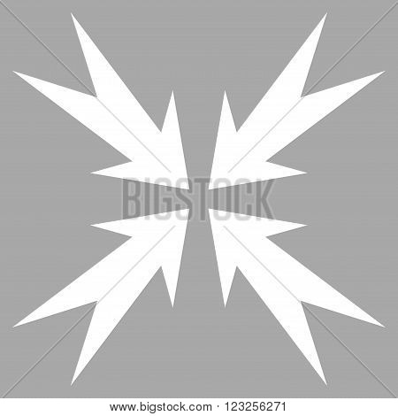 Compression Arrows vector icon. Image style is flat compression arrows pictogram symbol drawn with white color on a silver background.