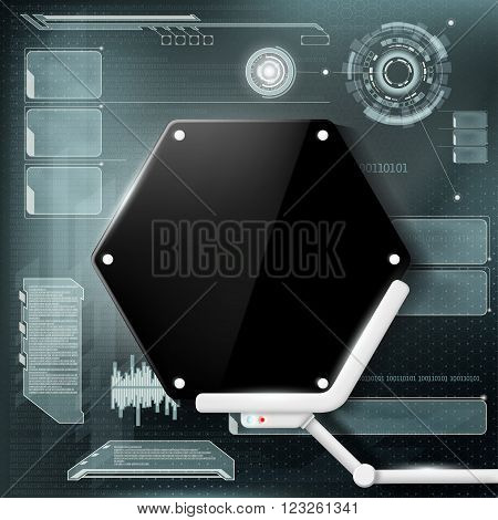 Futuristic display background. HUD interface. Stock vector illustration.