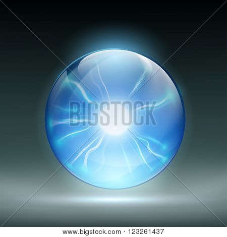 Glass crystal ball to predict. Static discharges. Stock vector illustration.