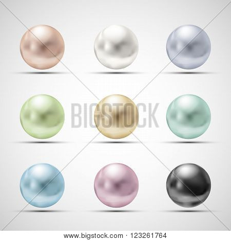 Set of multicolored pearls. Stock vector illustration.
