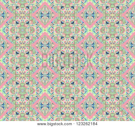Abstract geometric seamless background. Ornate diamond pattern with elements in pink, mint green, ecru and blue.