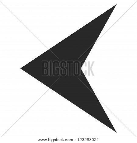 Arrowhead Left vector icon. Arrowhead Left icon symbol. Arrowhead Left icon image. Arrowhead Left icon picture. Arrowhead Left pictogram. Flat gray arrowhead left icon.