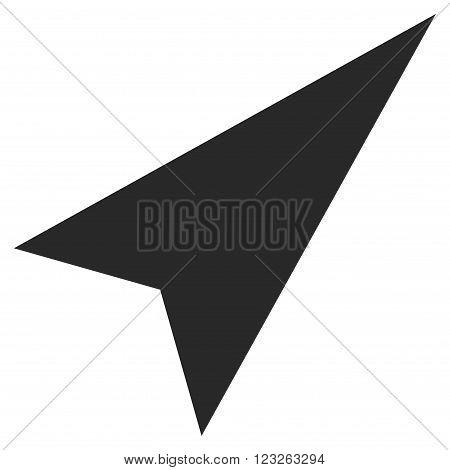 Arrowhead Right-Up vector icon. Arrowhead Right-Up icon symbol. Arrowhead Right-Up icon image. Arrowhead Right-Up icon picture. Arrowhead Right-Up pictogram. Flat gray arrowhead right-up icon.