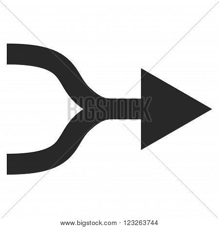 Combine Arrow Right vector icon. Combine Arrow Right icon symbol. Combine Arrow Right icon image. Combine Arrow Right icon picture. Combine Arrow Right pictogram. Flat gray combine arrow right icon.
