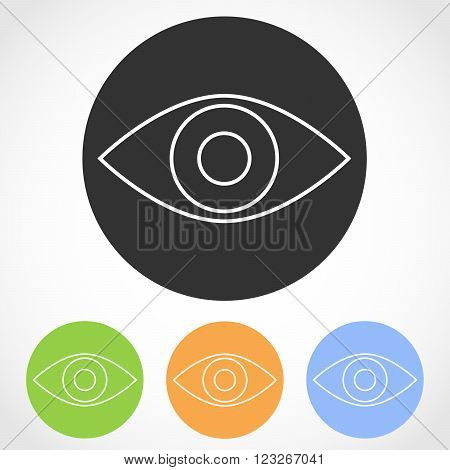 Simple eye icons - vector illustration. Set of flat eye icons in four color versions. view concept