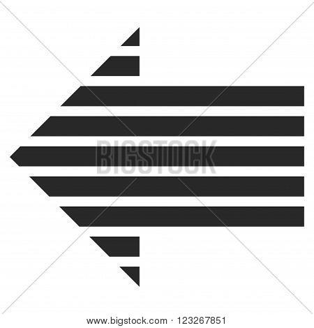 Stripe Arrow Left vector icon. Stripe Arrow Left icon symbol. Stripe Arrow Left icon image. Stripe Arrow Left icon picture. Stripe Arrow Left pictogram. Flat gray stripe arrow left icon.