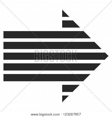 Stripe Arrow Right vector icon. Stripe Arrow Right icon symbol. Stripe Arrow Right icon image. Stripe Arrow Right icon picture. Stripe Arrow Right pictogram. Flat gray stripe arrow right icon.