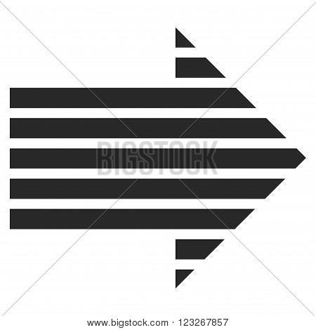 Stripe Arrow Right vector icon. Stripe Arrow Right icon symbol. Stripe Arrow Right icon image. Stripe Arrow Right icon picture. Stripe Arrow Right pictogram. Flat gray stripe arrow right icon.