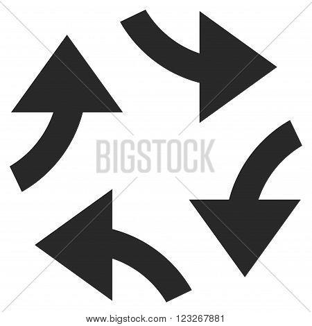 Swirl Arrows vector icon. Swirl Arrows icon symbol. Swirl Arrows icon image. Swirl Arrows icon picture. Swirl Arrows pictogram. Flat gray swirl arrows icon. Isolated swirl arrows icon graphic.