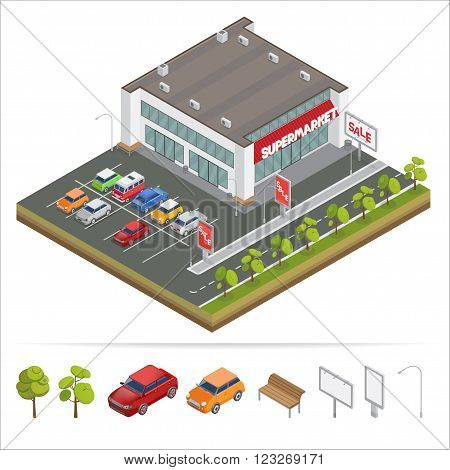 Isometric Supermarket. Car Parking. City Supermarket. Isometric Car. Shopping Mall. Supermarket Building. Shopping Center. Isometric Building. Vector illustration